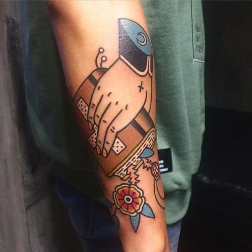 Hand Bible Tattoo by Sany Kim
