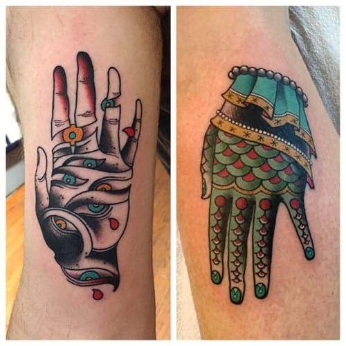 Hand Tattoos by Ron Henry Wells