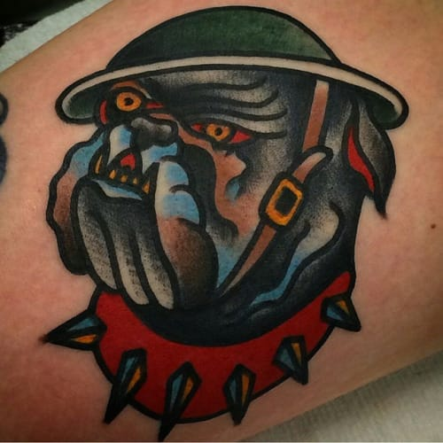 20 Solid Old School Bulldog Tattoos