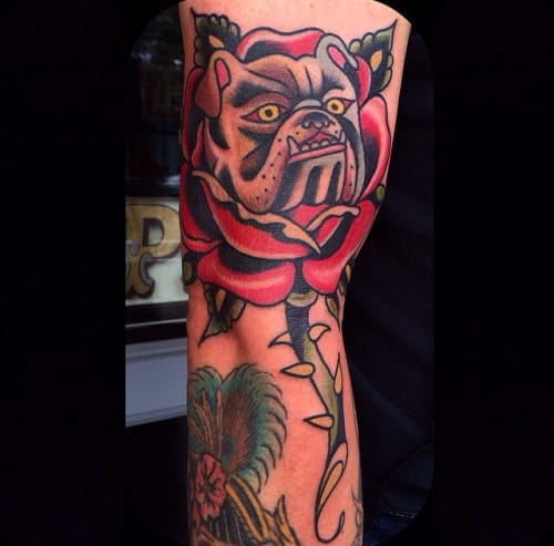 Bulldog Rose Tattoo by Eli Falconette
