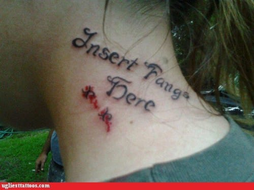 As neck tattoos go this is certainly not a winner!