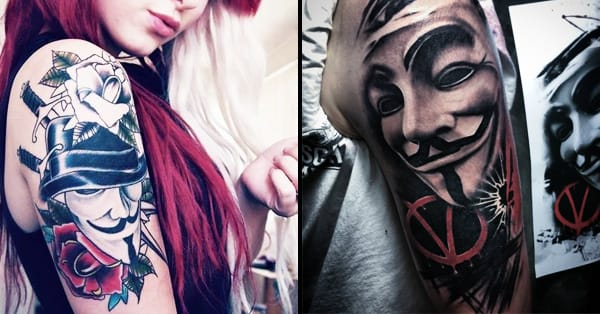 V For Vendetta Mask Tattoo Remember The 5T...