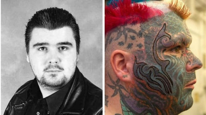 Matthew Whelan before and after his tattoo transformation