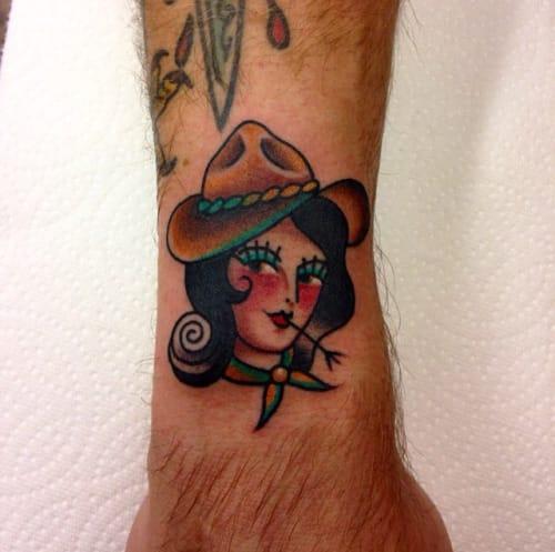 Small Cowgirl Tattoo by Mina Aoki