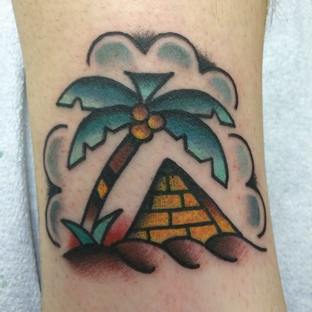 Old School Pyramid Tattoo by Justin Hyde
