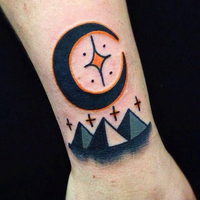 14 fascinating pyramid tattoos tattoodo for Traditional moon tattoo