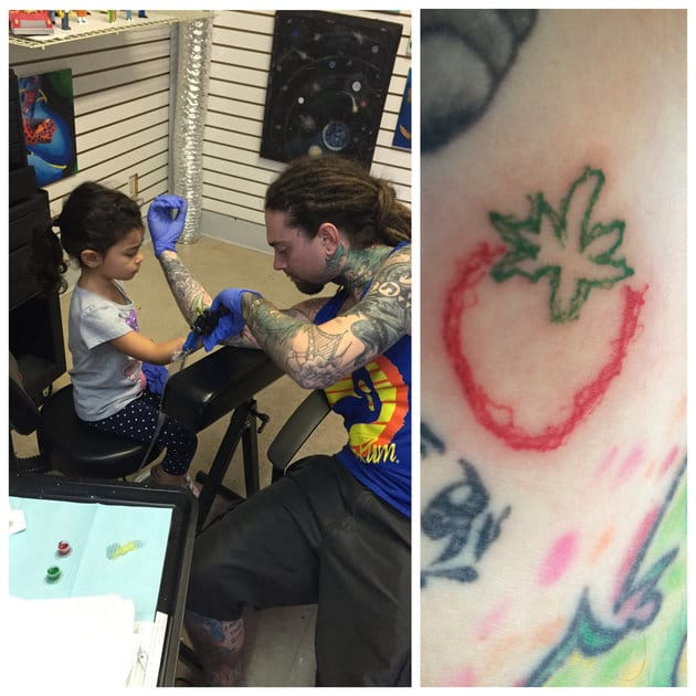 'Today was her first real tattoo! A little wobbly but she did great and it's still cute... Keep in mind she just turned 4 end of August! [sic]'—wrote Brad Bellomo in a Facebook post