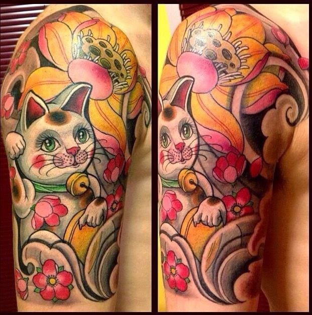 Ornate half sleeve, Lucky Cat with blossoms and lotus found on Pinterest