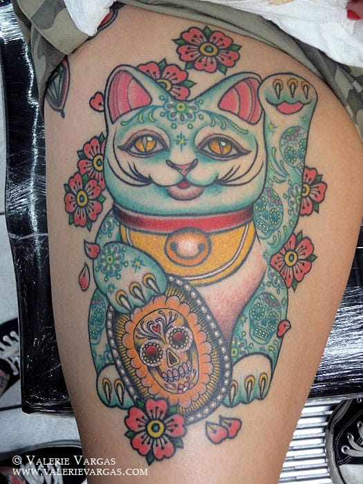 Traditional Lucky Cat adorned with Sugar Skulls and Sakura by Valerie Vargas