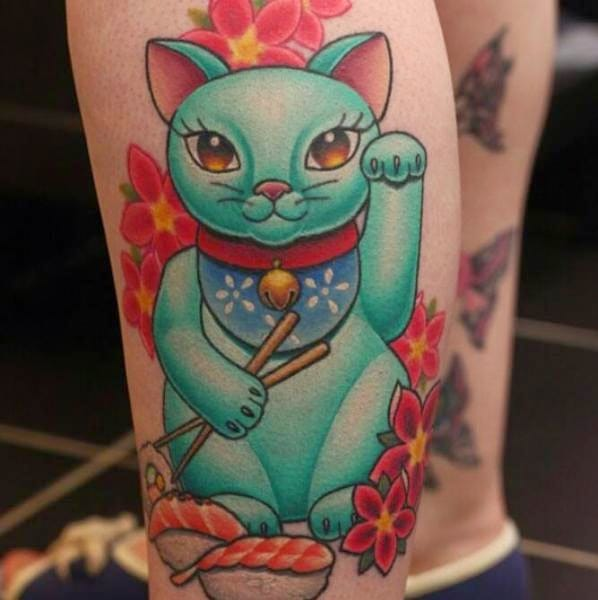 Teal green Lucky Cat with chopsticks, sushi and blossoms by Nemesis Tattoo