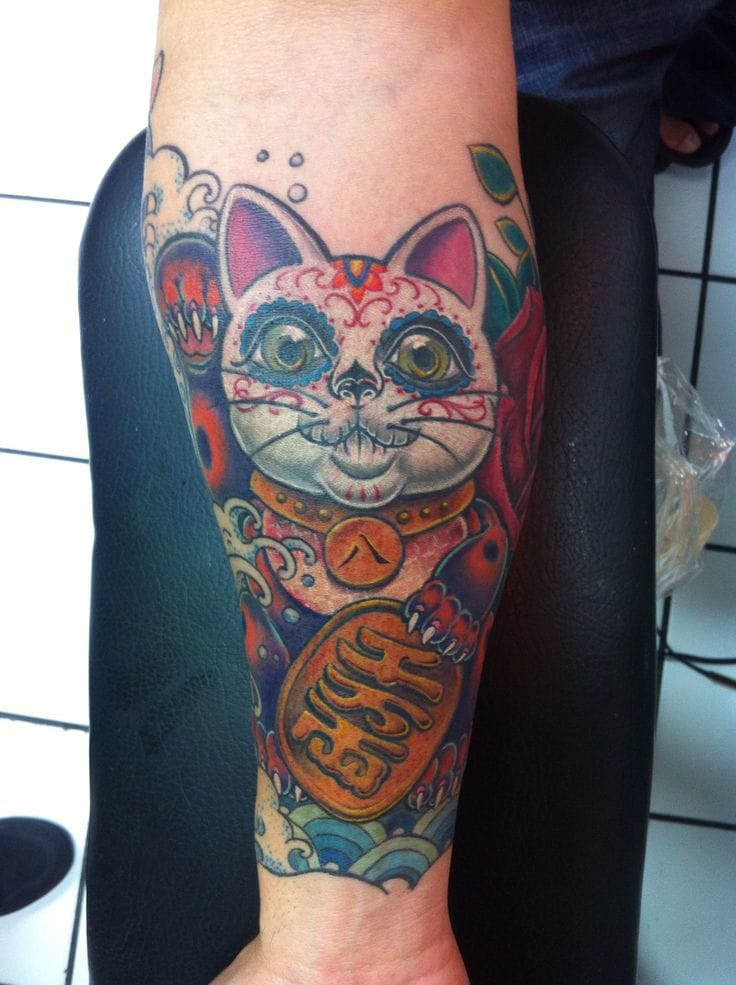 Day of the Dead Lucky Cat found on Pinterest