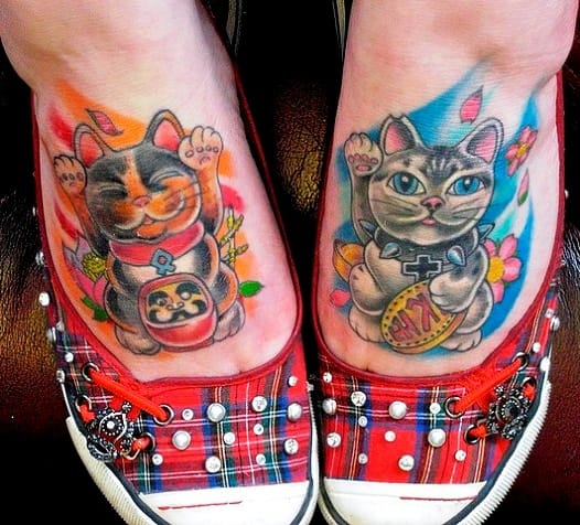 2 Lucky Cats; Tri-color and Grey with lots of protective symbolism by Bez, Triplesix Studios, Sunderland, England