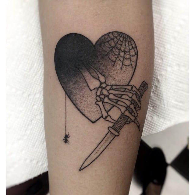 Creative Skeleton Hand Tattoo by Moorea Hum