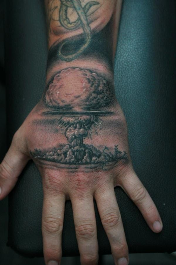 Wicked hand tattoo... please credit.