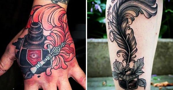 16 Inspiring Inkwell And Quill Tattoos   TattoodoQuill And Inkwell Tattoo