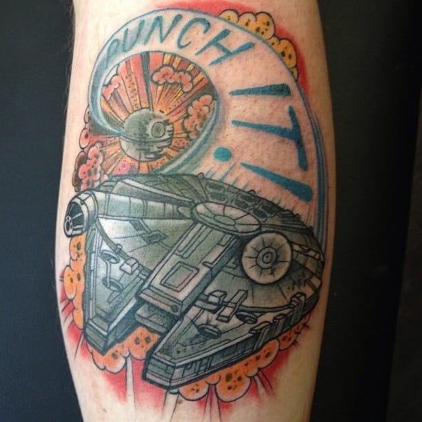 Millennium Falcon Tattoo by Annie Frenzel