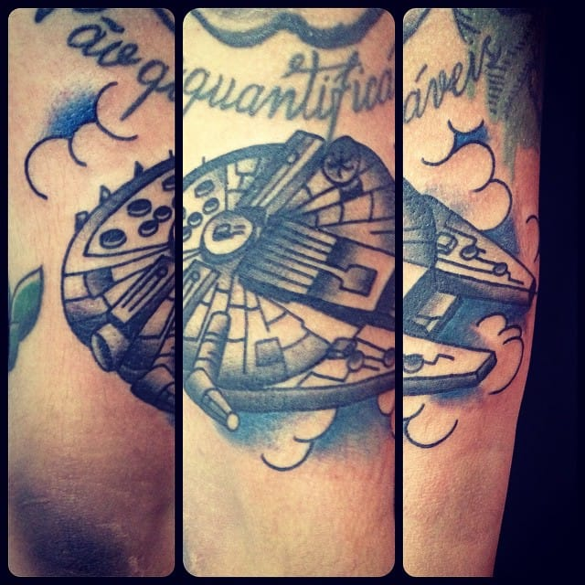 Black and Grey Millennium Falcon by Fernando hideki Tattoo