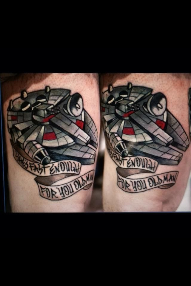 Millennium Falcon Tattoo by Jeff Wortham