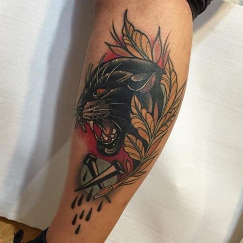 Neo-Traditional Panther Tattoo by Rodrigo Kalaka