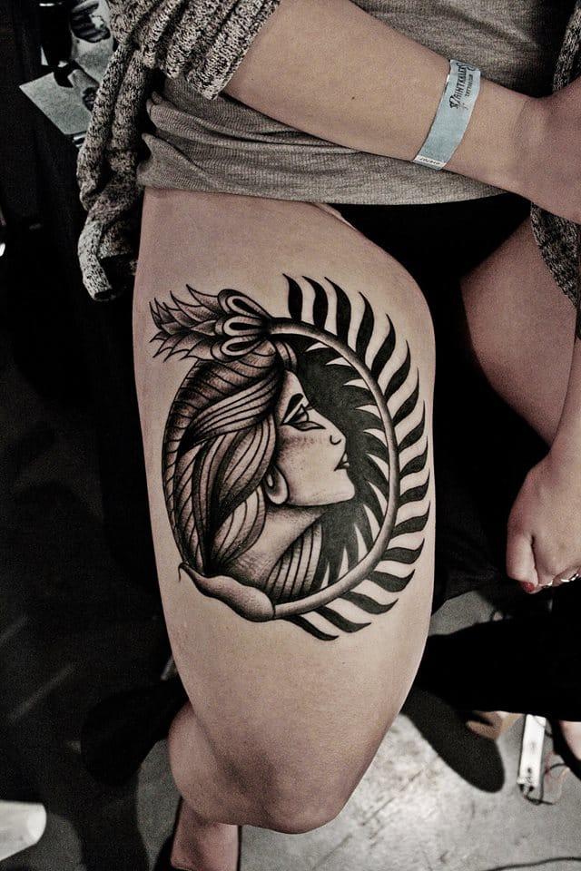 Blackwork Woman Tattoo by Aleksei Kosenkov