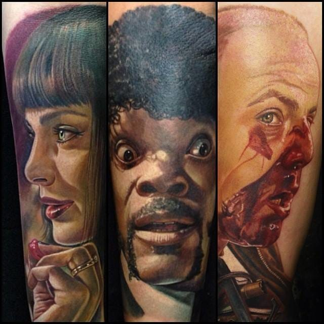 Awesome Pulp Fiction tattoos by Carlos Rojas!