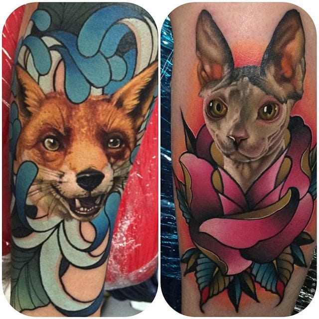 Realistic animals featuring a solid frames in colorful traditional style by Yogi Barrett