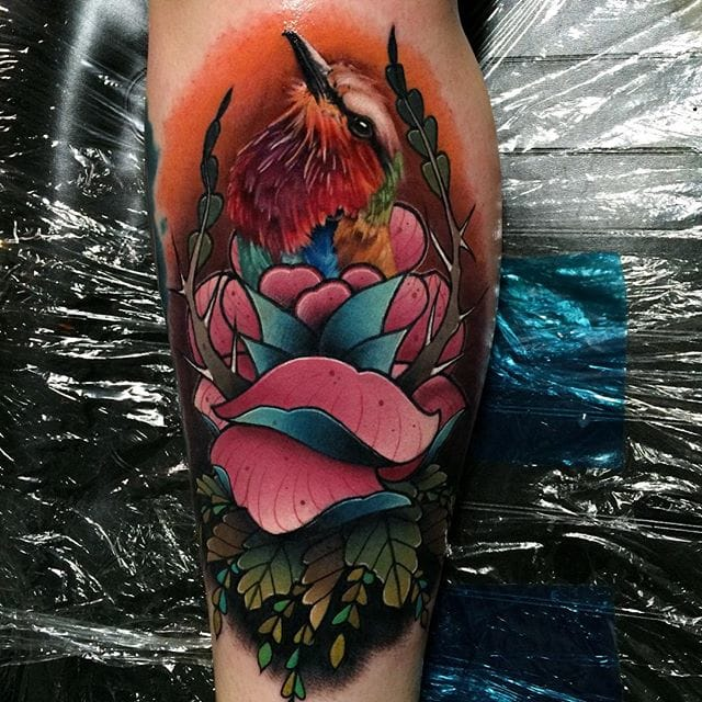 Love the mix of old school roses and realistic animals.