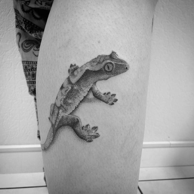 Cool dotwork lizard tattoo by Les Petits Points de Fanny. #lespetitspointsdefanny #lizard #lizardtattoo