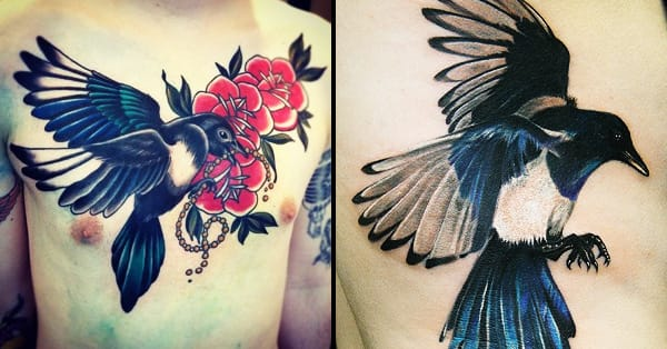 Traditional magpie tattoo - photo#9