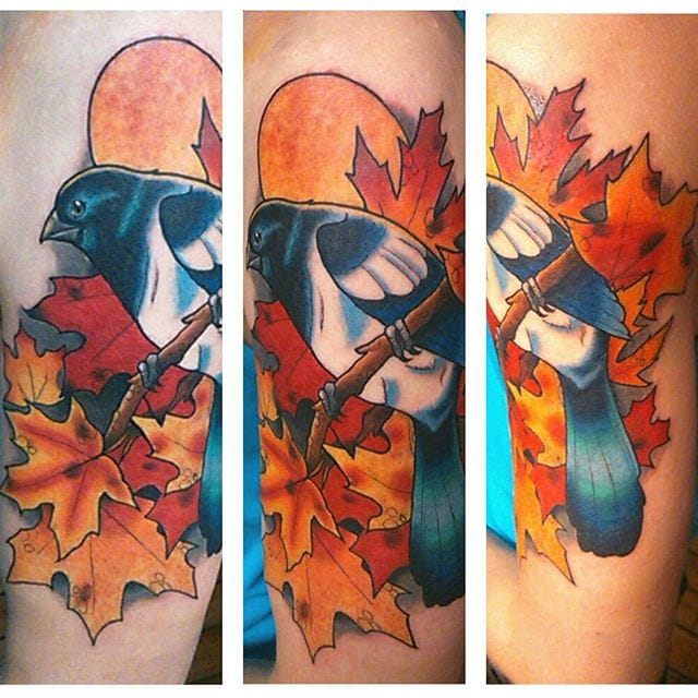 Colorful Magpie Tattoo by Cesse Larsson