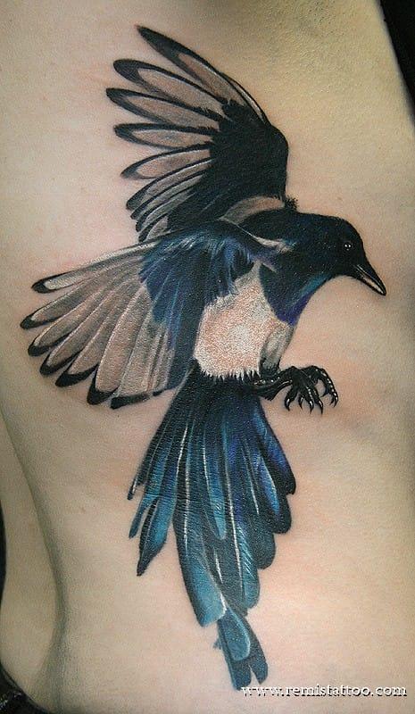 Magpie Tattoo by Remis Tattoo