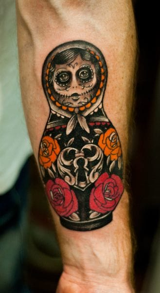 8 Twisted Matryoshka Skull Tattoos