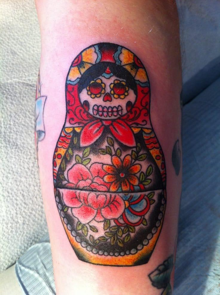 matryoshka skull tattoo 5