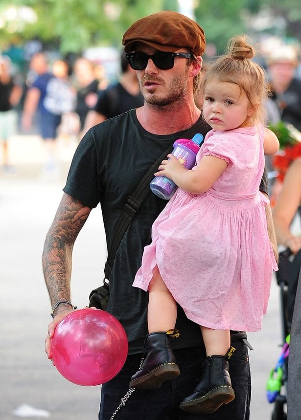 David and Harper Beckham, via Getty Images