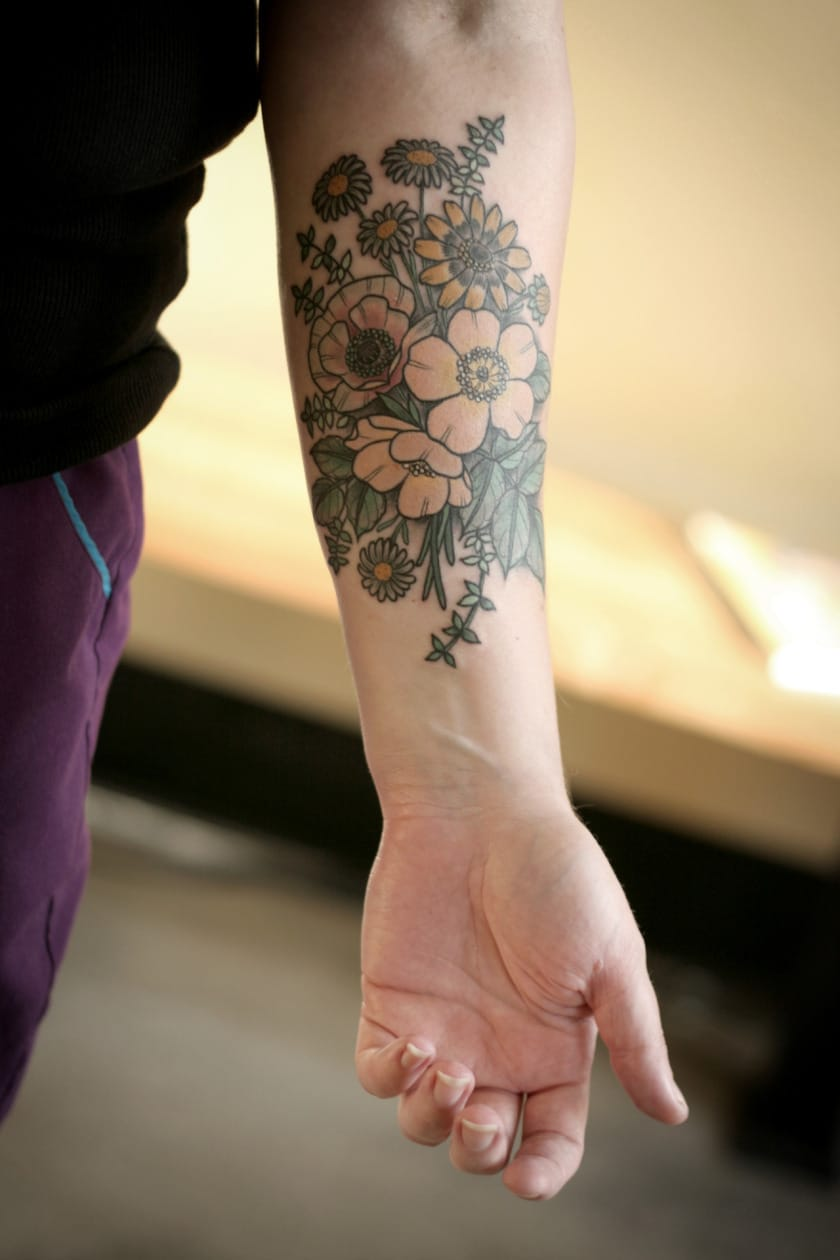 Forearm Flower tattoo