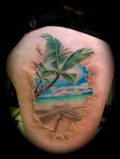 Nice 3D effect tattoo : you've got beach under your skin!