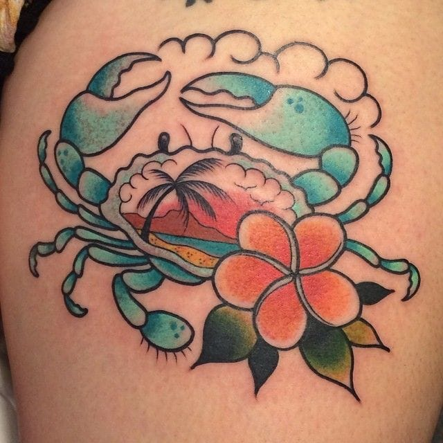 Nice summer crab tattoo by Clare Hampshire.