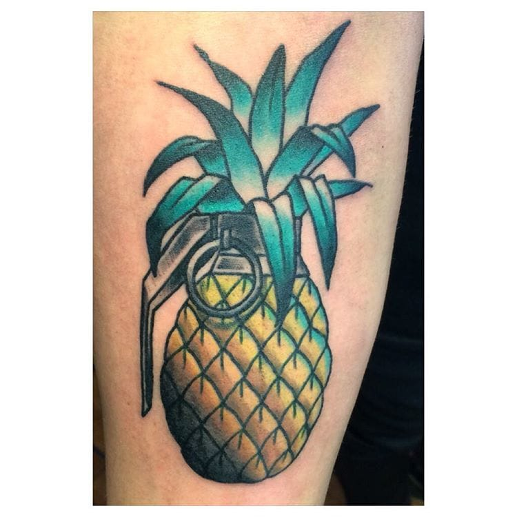 Pineapple grenade tattoo