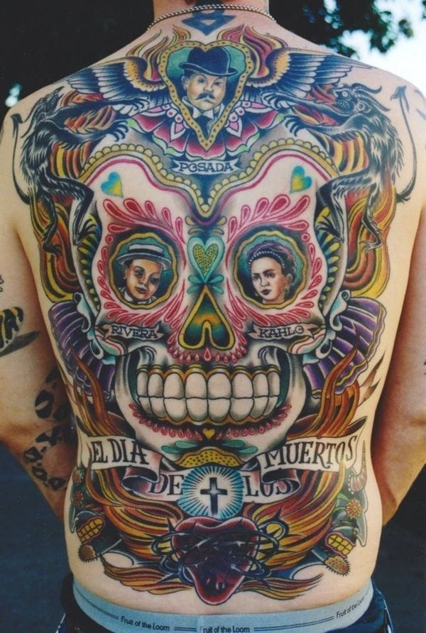 18 Alive & Kicking Day Of The Dead Tattoos