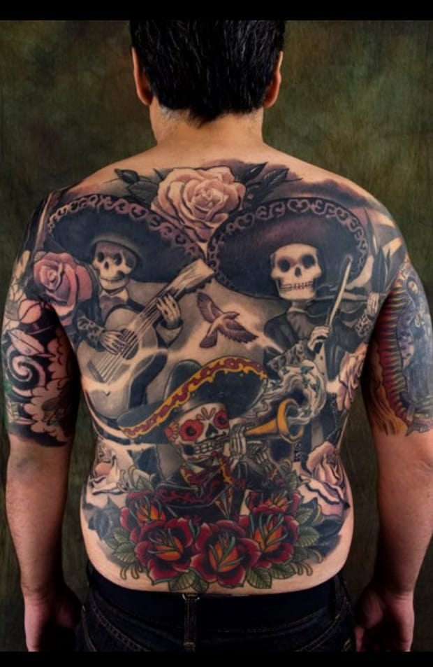 Gorgeous Day of the Dead Mariachi back piece  by Kore Flatmo, plurabella.com
