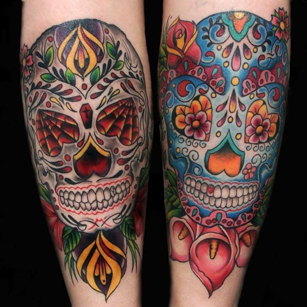 Sugar Skulls by Malia Reynolds of Memorial Tattoo, Atlanta