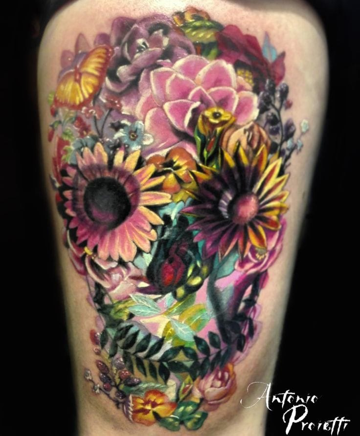 Mexican floral skull by Antonio Proietti, camdentown tattoo studio