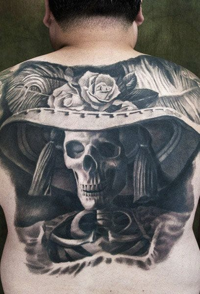 Brilliant Black & Grey realistic interpretation of La Calavera de la Catrina by Kore Flatmo plurabella.com