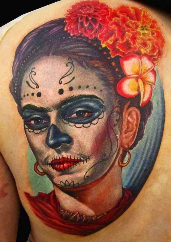 Magnificent Day of the Dead Frida tattoo by Logan Aguilar, loganaguilar.com