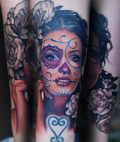 Beautiful Sugar Skull Girl by Kyle Cotterman