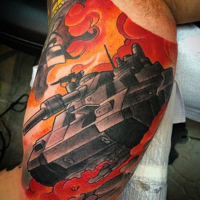 Bold Tank Tattoo by Brett Schwindt