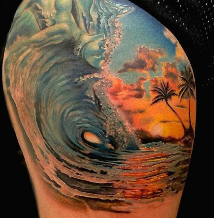 Outstanding wave tattoo by Rember Orellana, you wish to ride it.