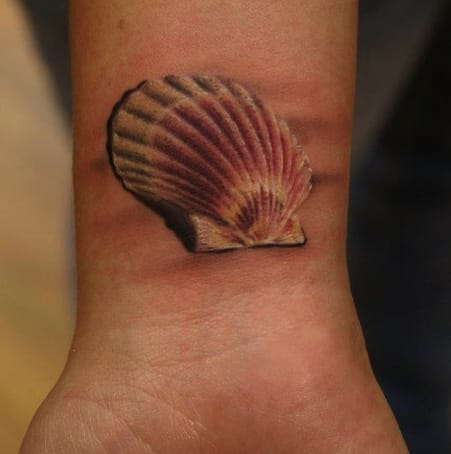 Realistic 3D seashell on the sand.