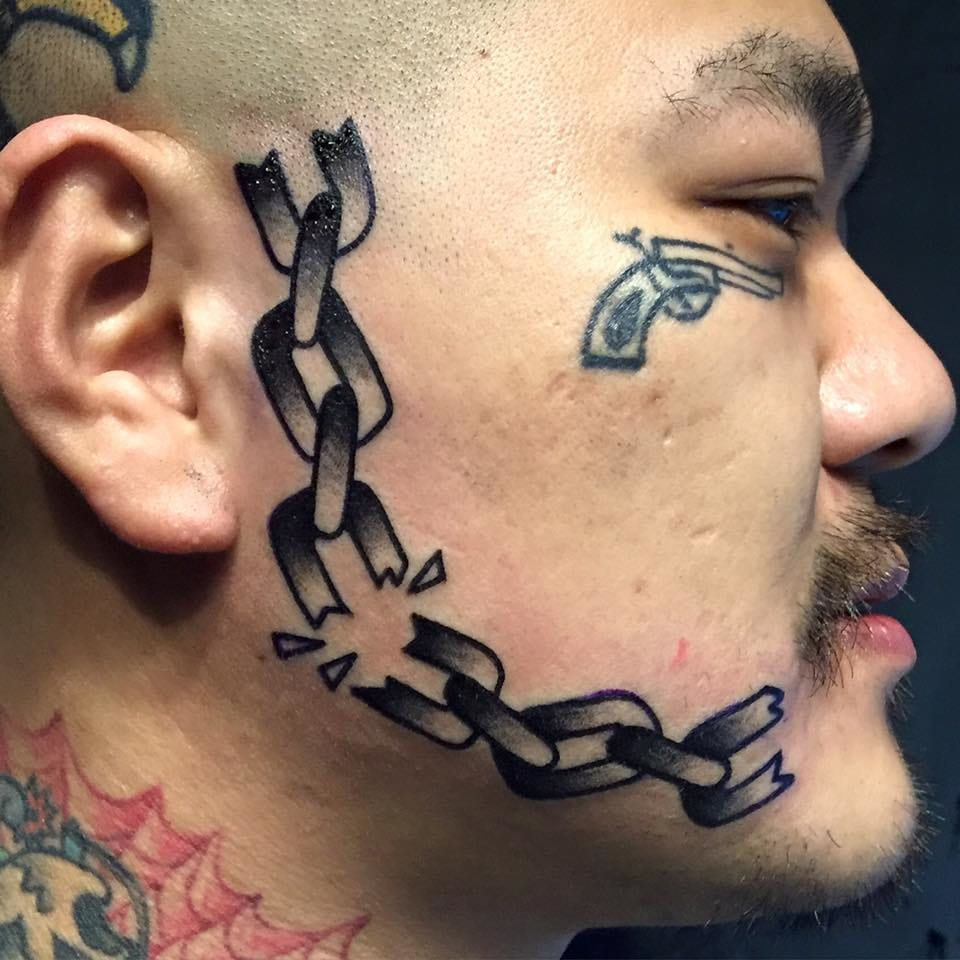 Chain side face tattoo by Error