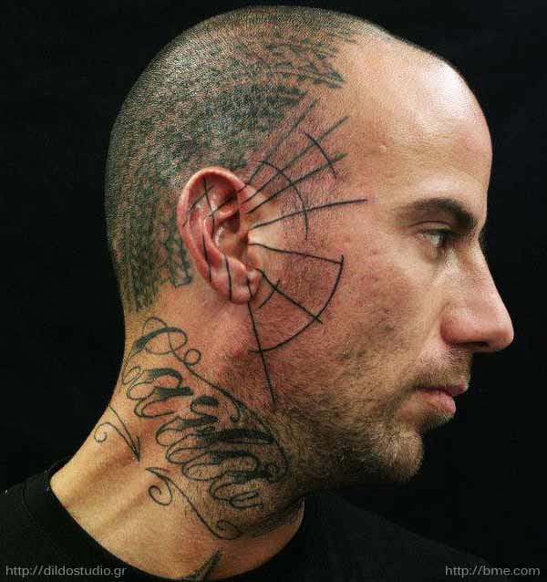 Abstract side face tattoo - Courtesy of BME